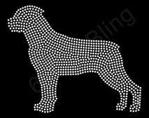 "Rhinestone Iron On Transfer ""Rottweiler"" Large filled silhouette bling dog design"
