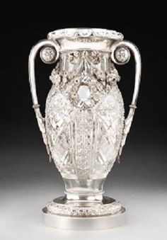 Faberge Silver Mounted Crystal Vase circa 1908-1917. Moscow. 17""