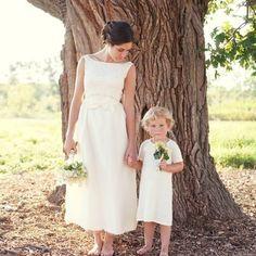 Vintage 60s Wedding Dress Creamy White Floral von daisyandstella