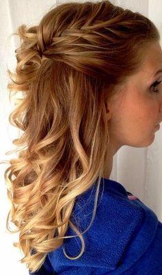 bridesmaid hair - half up half down Love Hair, Great Hair, Gorgeous Hair, Up Hairstyles, Pretty Hairstyles, Wedding Hairstyles, Braided Hairstyles, Wedding Updo, Homecoming Hairstyles
