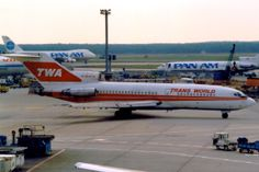 Trans World Airlines Boeing 727-31 N848TW occupying the apron at Frankfurt-Main, circa August 1990 - Like Pan Am, TWA would fly Boeing 747s across the Atlantic to their Frankfurt hub and then operate connecting flights to other locations in Europe with a fleet of Boeing 727s.