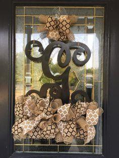 Single Letter Monogram Door Hanger – Seven Pineapples Designs Door Monogram, Monogram Letters, Pineapple Design, Spring Door, Wood Doors, Door Hangers, Design Your Own, House Design, Lettering