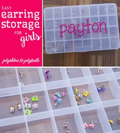 Easy Earring Storage Solution for Girls with Custom Name Decal. Perfect birthday gift idea.
