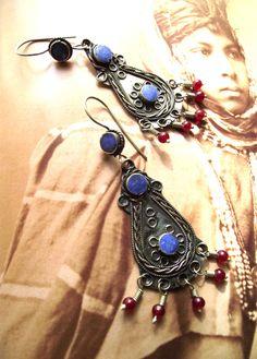 Tribal Fusion Kuchi Earrings. Ethnic Boho Blue Lapis by SohoZulu