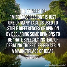 "The concept of ""microaggression"" is just one of many tactics used to stifle differences of opinion by declaring some opinions to be ""hate speech,"" instead of debating those differences in a marketplace of ideas. Wise Quotes, Quotable Quotes, Great Quotes, Words Quotes, Wise Words, Quotes To Live By, Motivational Quotes, Leader Quotes, Inspirational Quotes"