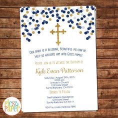 Baptism or Christening Invitation in Navy Blue and Gold - Print your Own or Printed- Gold Glitter Cross by PicsandPaper on Etsy https://www.etsy.com/listing/243355742/baptism-or-christening-invitation-in