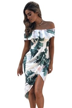 9f34c07f1e Tropical Palm Leaf Ruffle Off Shoulder Wrap Boho Dress