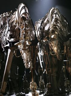 """Puppets for """"War Horse."""" Each one requires three operators -- head, heart, and hind."""