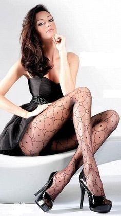 Patterned stockings and High Heels