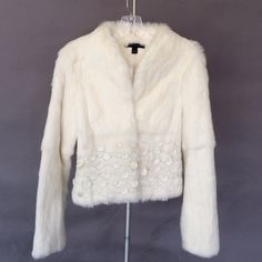 Sheri Bodell white real fur jacket.   Size: Small Glamorous 100% genuine rabbit fur coat. Beautiful white fur with white leather circle accents. Sheri Bodell Jackets & Coats