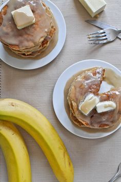 Whole wheat brown sugar banana bread pancakes.