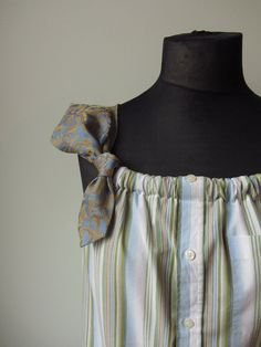 Upcycled Clothing for Women - Striped Tank Top with Two Neckties Shoulder Straps - made from mens shirt and neckties.