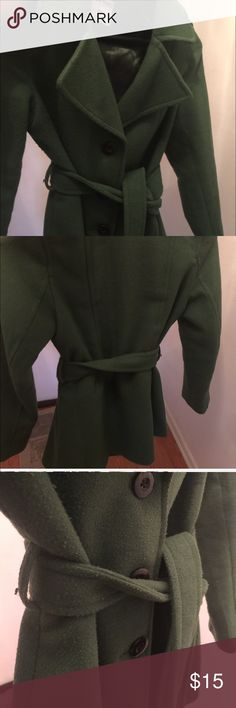 Green peacoat with belt, size M Used condition. Great for the winter holidays! Side pockets. It sits below the hip. Old Navy Jackets & Coats Pea Coats