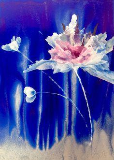 Alcohol ink Art.  Beauty on Blue. by KCsCornerGallery on Etsy