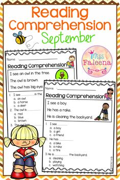 September Reading Comprehension is suitable for Kindergarten students or beginning readers. This product is helping children to sharpen reading and comprehension. There are 20 pages of reading comprehension worksheets. Preschool   Preschool Worksheets   Kindergarten   Kindergarten Worksheets   First Grade   First Grade Worksheets   Reading  Reading Comprehension   September Reading Comprehension   Reading Comprehension Literacy Centers   Printables  Worksheets First Grade Worksheets, Kindergarten Worksheets, Reading Comprehension Worksheets, Helping Children, Literacy Centers, Sentences, September, Students, Printables