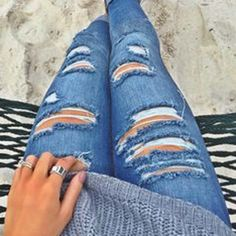 Foxly Skinny Jeans... The perfect distressed jean. www.spool72.com