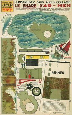 1930`s Old Breton Lighthouse Paper Model - by Tom Greensfelder & Agence Eureka    ==       In a work of preservation by Tom Greensfelder & Agence Eureka, here is the 1930`s Old Breton Lighthouse Paper Model, a really beautiful and clever vintage papercraft, that using a system of tabs and slots eliminates the use of glue on assembly.