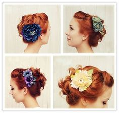 You can fancy up any look with a big pretty flower in your up-do!