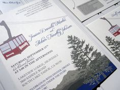 Heavenly Mountain Tram - Lake Tahoe - Ski Wedding Invitations, #mountainwedding