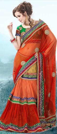 Dark #Orange and Beige Net #Lehenga Style #Saree With Blouse @ $188.37