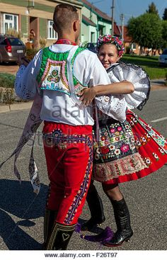 Folk costumes, Dolni Dunajovice, South Moravia, Czech Republic, Europe - Stock Image