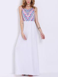 White Sleeveless Vintage Print Maxi Dress