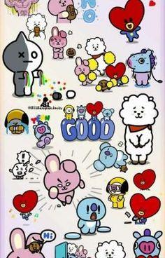 New Drawing Cute Bts Ideas Bts Chibi, Bts Lockscreen, Bts Wallpaper, Iphone Wallpaper, Kawaii Wallpaper, Bts Backgrounds, Bts Drawings, Line Friends, Bts Fans
