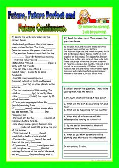 Future Simple, Progressive and Perfect. worksheet - Free ESL printable worksheets made by teachers English Grammar Tenses, Teaching English Grammar, English Worksheets For Kids, English Writing Skills, English Activities, Grammar And Vocabulary, Grammar Lessons, English Lessons, English Vocabulary