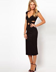 Bodycon Midi Dress with Wrap Front