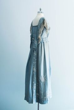 1910s Edwardian Silk Embroidered Dress