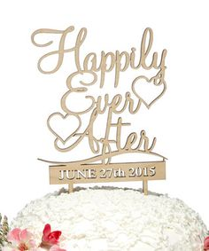 Natural 'Happily Ever After' Custom Date Wooden Cake Topper