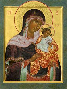 Theotokos by Katerina Patapi Religious Images, Religious Icons, Religious Art, Byzantine Icons, Byzantine Art, Catholic Pictures, Joseph, Mary And Jesus, Holy Mary