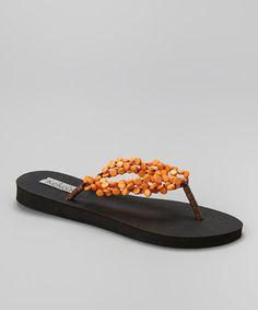 This Orange Original Coconut Flip-Flop by Keikei's Coconut Sandals is perfect! #zulilyfinds
