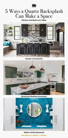 A natural stone backsplash is a sleek and striking way to set your space apart. In an array of stunning natural quartz designs, a Cambria backsplash can take your kitchen or bathroom from beautiful to breathtaking (with benefits to boot!). Check out these five quartz backsplash ideas. Featured Designs: Cambria Galloway, Brittanicca, and Skye. #bluequartzcountertops #bathroomideas #kitchenideas #greenkitchen #blackkitchen #kitchenremodel #bathroomremodel