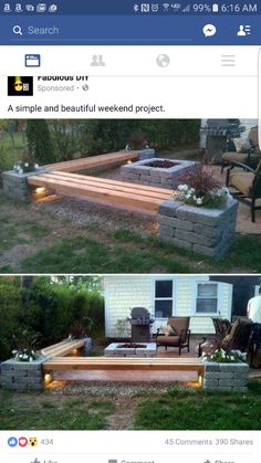 Patio is also an important component part of your summer life. Just think how cool and cosy it is that play with your families or entertain guests in a beautiful patio with flowers and trees! So it's time to upgrade your patio. It's not difficult. Diy Patio, Backyard Patio, Backyard Landscaping, Landscaping Ideas, Patio Bench, Backyard Fireplace, Outdoor Patio Ideas On A Budget Diy, Cheap Patio Ideas, Diy Bench