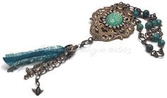 Aqua Gold Antique Brass Mixed-Media Opera Length Tassel Necklace with Rhinestones, 30 inches