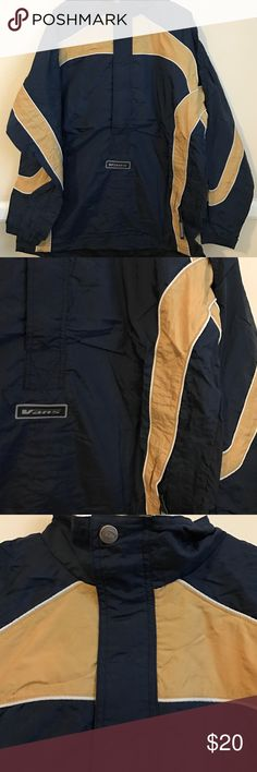 ❗️1HR SALE❗️Vintage VANS MENS MED wind breaker ❗️1HR SALE❗️Vintage VANS MENS MEDIUM wind breaker jacket, half zip and buttons, large front pocket, adjustable bottom drawstring. blue,gold,white, never worn, good condition, pictures provided.Still in plastic. Please keep in mind this item is VINTAGE. 30 % OFF IF YOU BUNDLE 2 or MORE ITEMS. I accept reasonable offers Vans Jackets & Coats Windbreakers