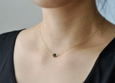 Solo jet small round black crystal gold filled or by edor on Etsy
