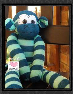 Handmade sock monkey: Watson~ The original 100% hand stitched plush animal made by Chiki Monkeys! by ChikiMonkeys on Etsy