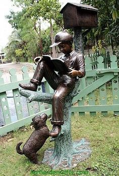 Gentil Reading Boy MailBox Statue   Life Size; A Dog Seems Eager To Climb Up The