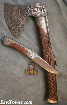Perhaps the most common weapon in the Viking Age was the axe. The axe most of the tim - Viking Sword, Viking Axe, Viking Warrior, Vikings, Cool Knives, Knives And Swords, Axe Handle, Dagger Knife, Battle Axe