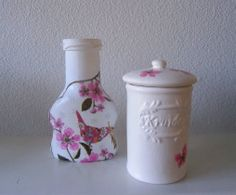 Glazen potjes gepimpt met gesso en decopatch (servetten)