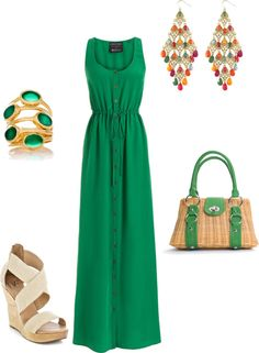 green maxi, created by lildill26 on Polyvore