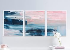 Set of 3 Prints Abstract Art Print Set 3 Abstract Prints image 0 Art Bleu, Blue Color Schemes, Contemporary Abstract Art, Abstract Landscape, Blue Art, Blue Canvas Art, Deco Design, Art Auction, Original Art