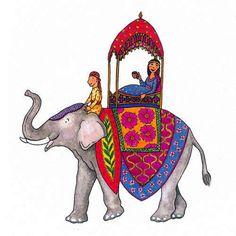 VALENTINE COUPLE. Indian Elephant. Greeting by ChurchMousePress