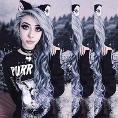 Naughty lil kitty go meow ~ •Hair extensions from @vpfashion ~ Use my discount code 'Kiittenymph' for off ya order!• ~ •Purr Evil sweatshirt & Choker from @killstarco• ~ •Kitten ears from @kittikrispo• ~ •Lashes from @blackmagiclashes ~ Use my discount code 'Kiittenymph' for off ya order!•