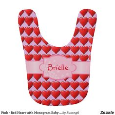 Pink - Red Heart with Monogram Baby Bib