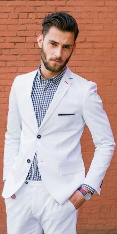 White suit with checks shirt ⋆ Men's Fashion Blog - #TheUnstitchd