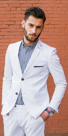 White suit with checks shirt ⋆ Men's Fashion Blog - #TheUnstitchd