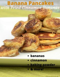 These eggless pancakes are made with bananas, plus topped with delicious fried cinnamon bananas! Grab the easy breakfast recipe below. Eggless Banana Pancakes, Easy Banana Pancake Recipe, Protein Pancakes, Cinnamon Bananas, Easy To Make Breakfast, Fried Bananas, Delicious Breakfast Recipes, Baking, Food